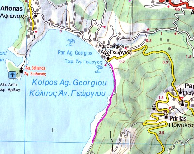 Map of Walk 2 at Agios Georgios